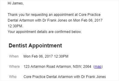 Convenient email appointment notifications