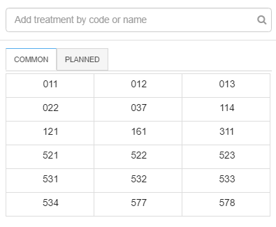 A faster way of entering treatment codes