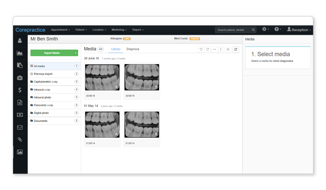 Online dental imaging software