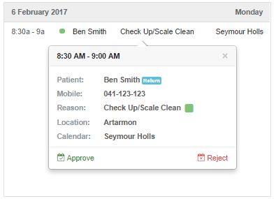 One-click appointment approval