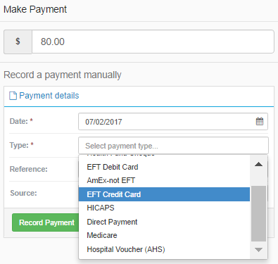 Record manual payments in a few clicks